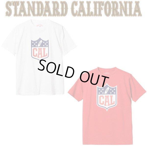 画像1: STANDARD CALIFORNIA [スタンダードカリフォルニア] SD CAL Shield Logo T [WHITE,RED] CALロゴTシャツ  (ホワイト、レッド) AIA     (1)