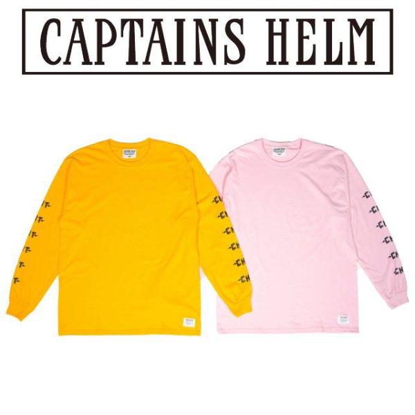 画像1: Captains Helm [キャプテンズヘルム] CHT LS TEE [PINK,YELLOW] CHTロングスリーブTシャツ (ピンク、イエロー) CH19-AW-T06 AIA     (1)
