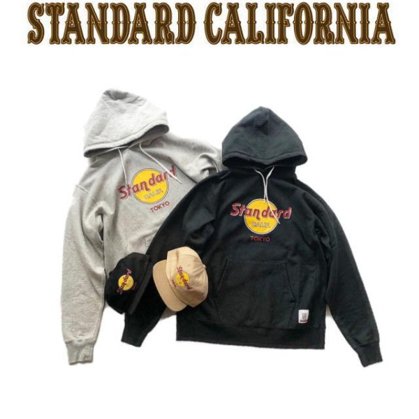 画像1: STANDARD CALIFORNIA [スタンダードカリフォルニア] SD HEAVYWEIGHT H.R.C LOGO HOOD SWEAT[Black,Gray] ヘビーウエイトH.R.Cロゴフードスエット プルオーバーパーカー (ブラック、グレー) AJS (1)